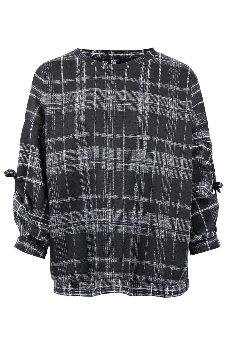 Checked Ruched Sleeve Top - Izabel London