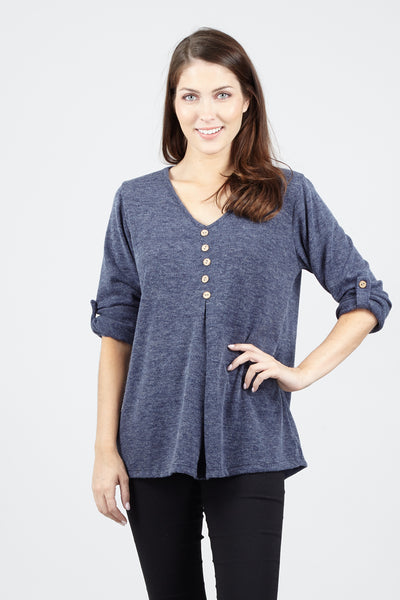 Button Front Roll Sleeve Top - Izabel London
