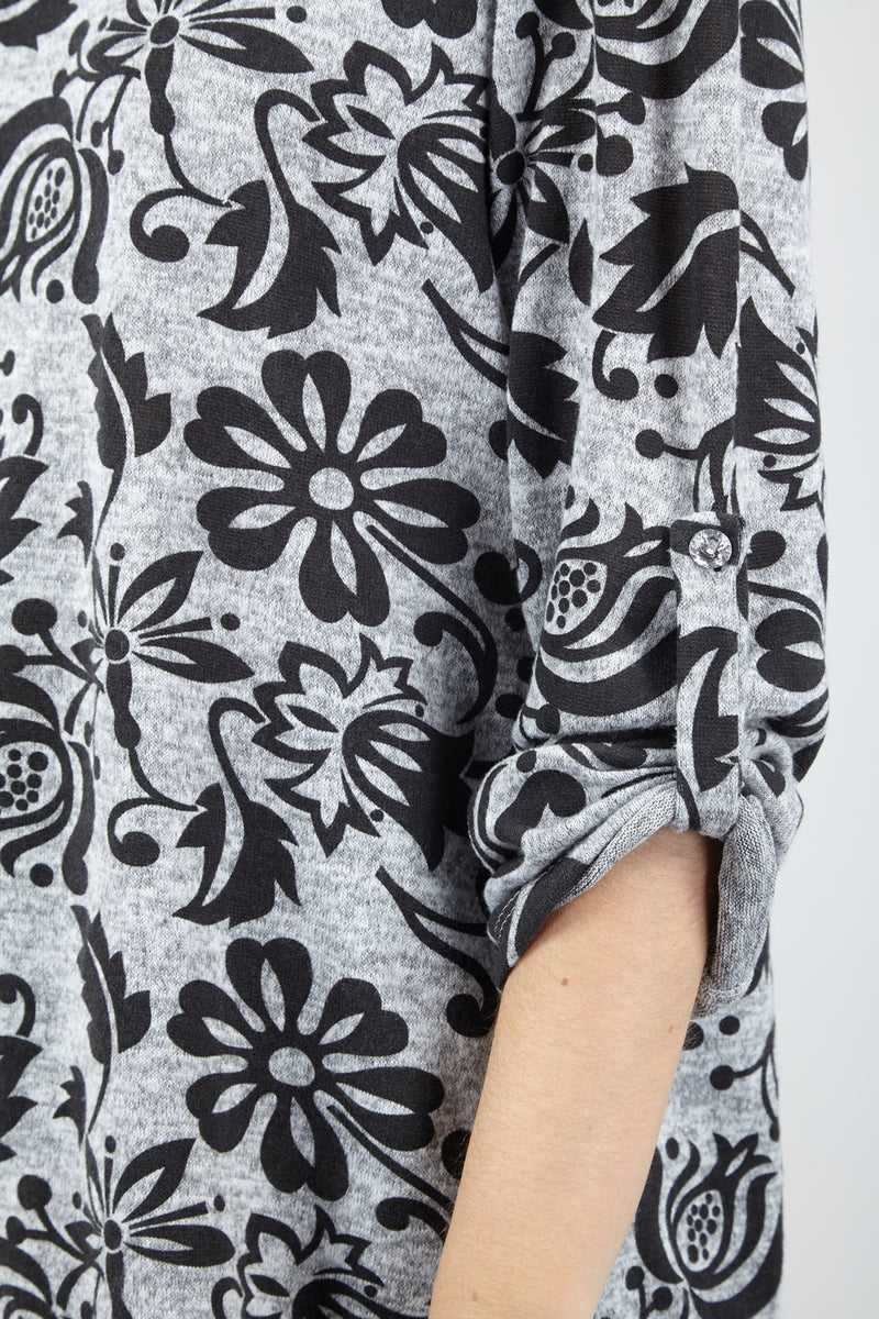 Grey | Floral Roll Sleeve Top
