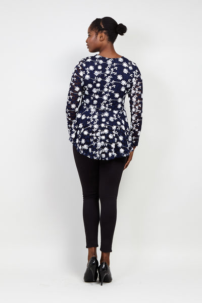 Curve Floral Lace Top - Izabel London