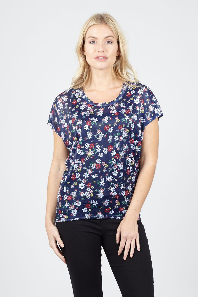 Navy | Ditsy Floral Casual Tee | Izabel London