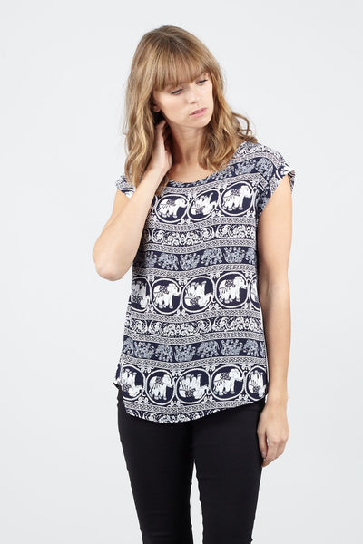 Elephant Print Tee - Izabel London