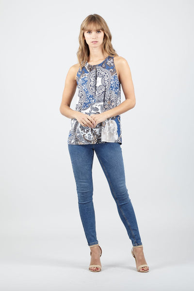 Paisley Print Vest Top - Izabel London