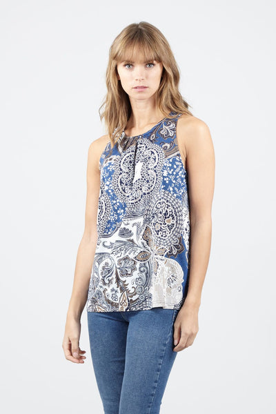 Blue | Paisley Print Vest Top