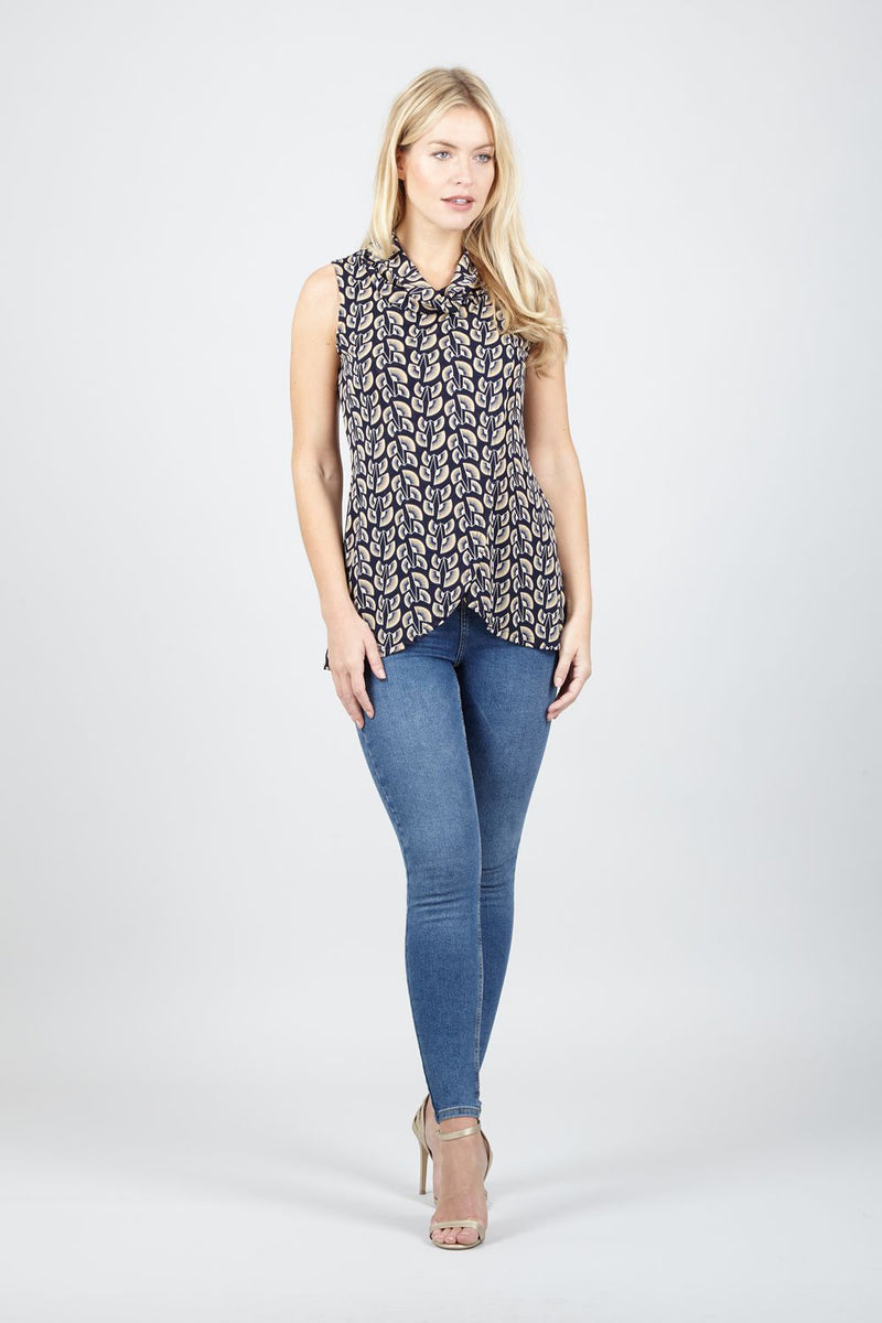 Navy | Roll Neck Tunic Top