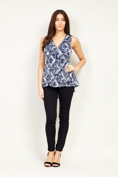 Paisley Zip Neck Peplum Top - Izabel London