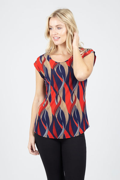 Abstract Print Turn Up Sleeve Top - Izabel London