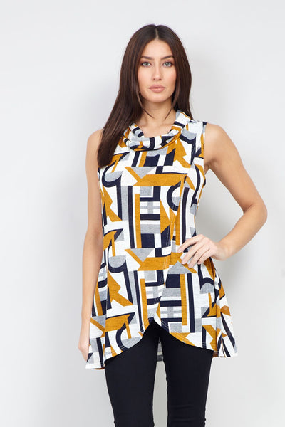 Yellow | Geo Print Wrap Front Tunic Top | Izabel London