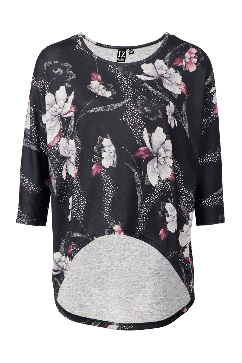 Black | Floral High Low Jumper