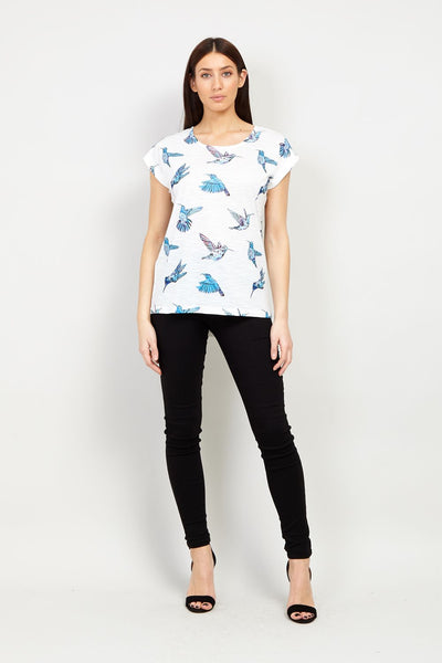 Bird Print Tee - Izabel London