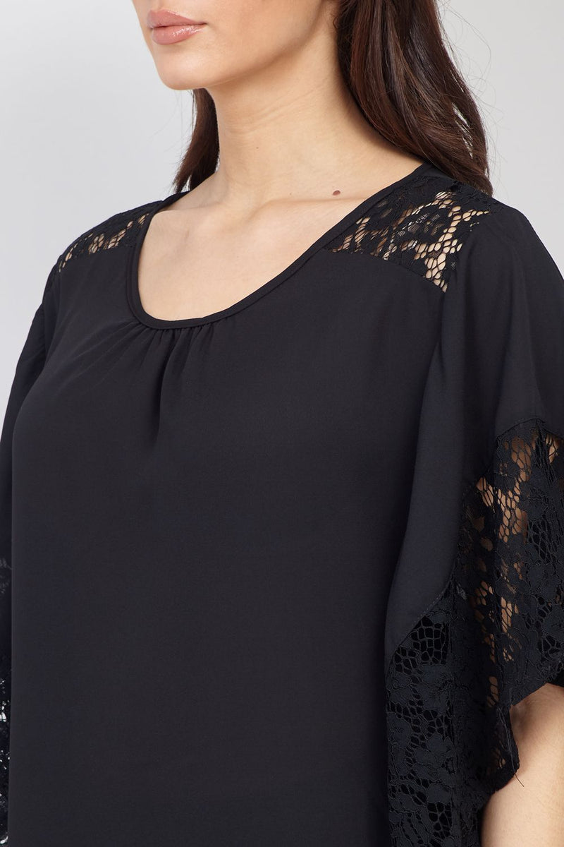 Black | Lace Sleeve Top