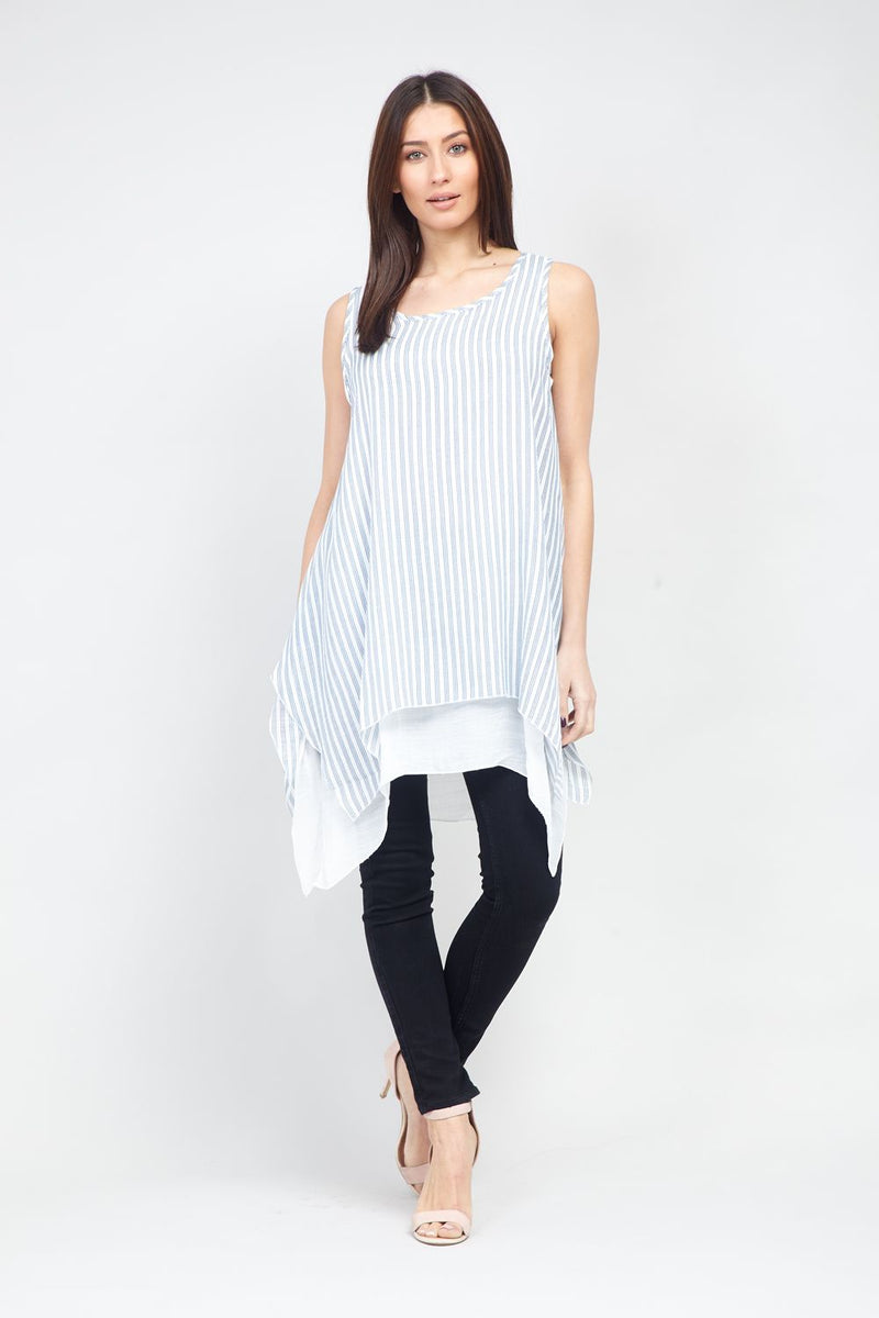 Navy | Striped Longline Tunic Top