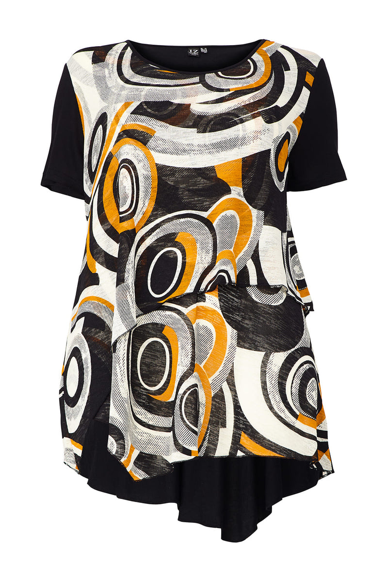 Yellow | Curve Swirl Print Layered Hem Top