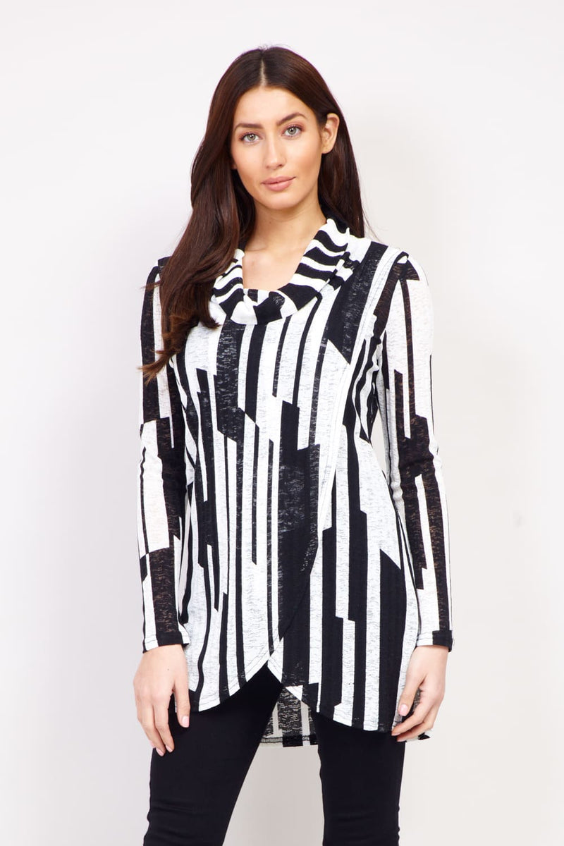 Black And White | Striped Roll Neck Top