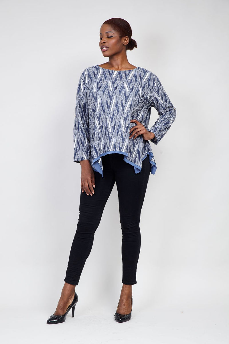 Blue | Curve Geo Print Tunic Top
