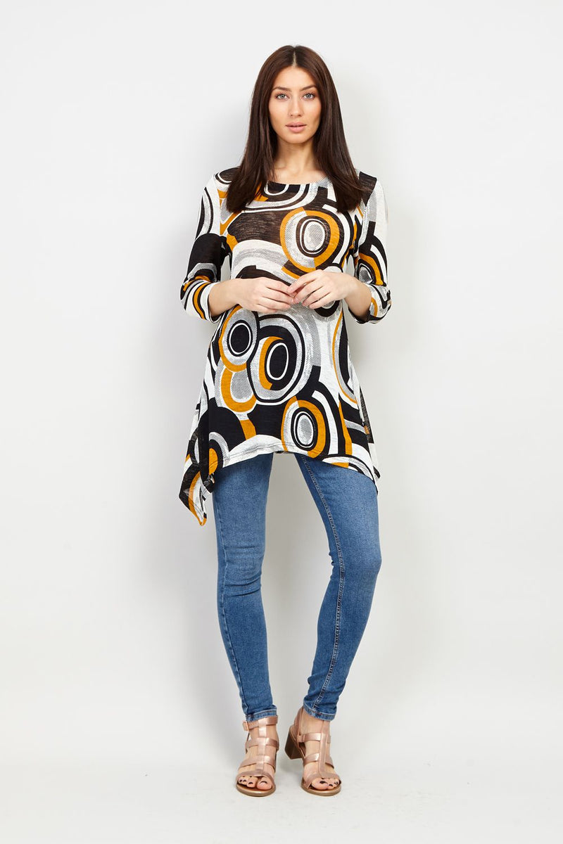 Yellow | Circle Print Hanky Hem Top