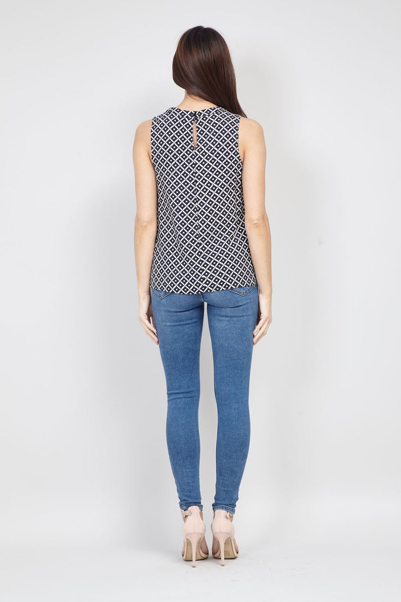 Navy | Geo Cut-out Top