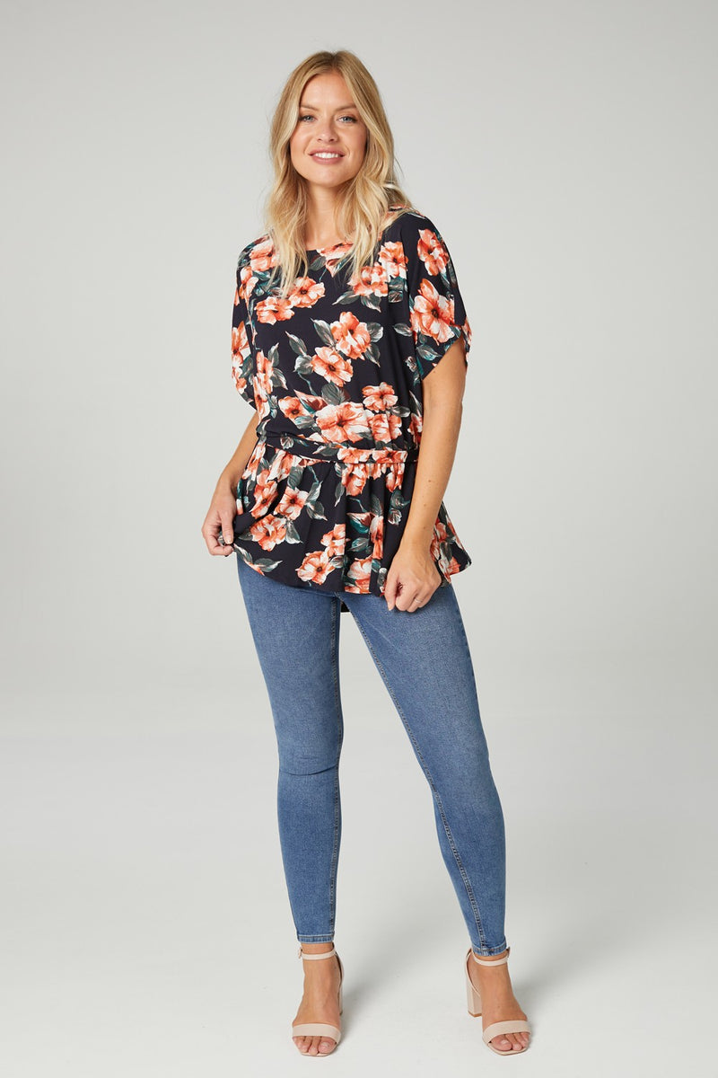 Navy | Floral Tie Waist Blouse
