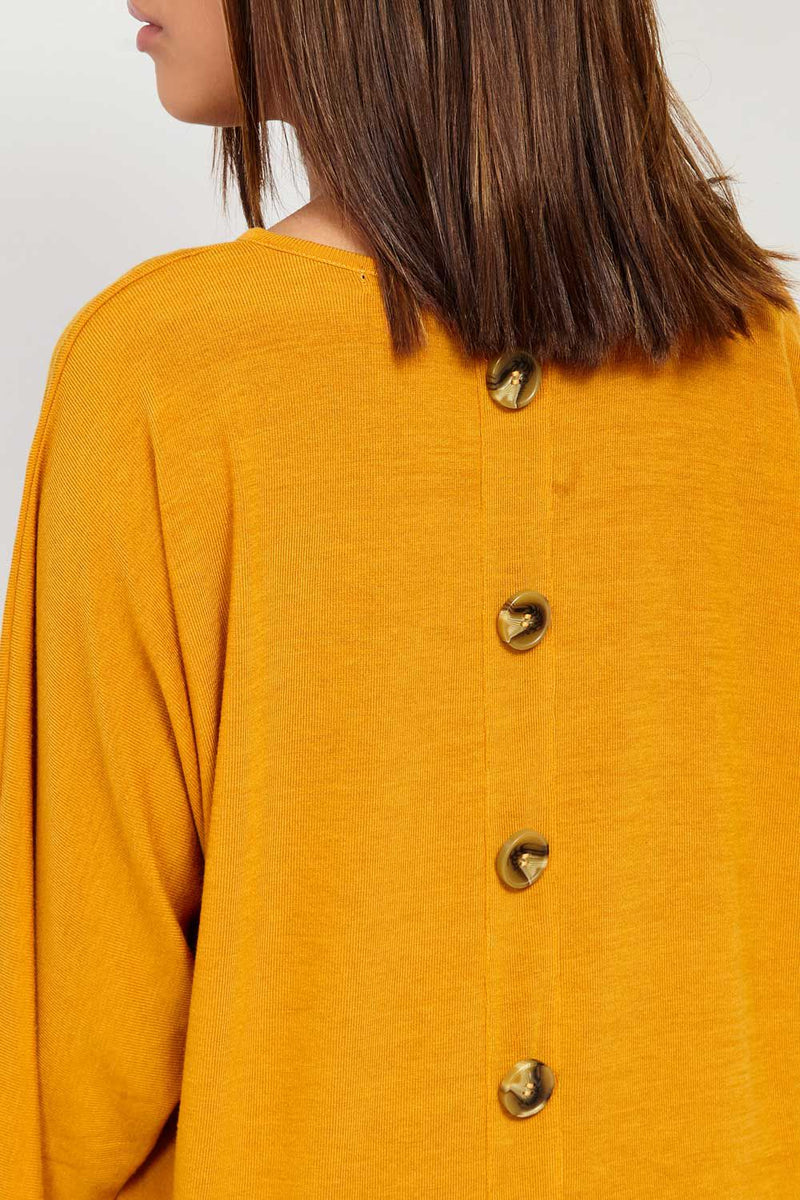 Mustard | Oversized Button Detail Top