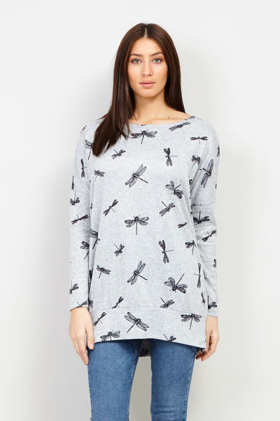 Grey | Dragonfly Print Jumper