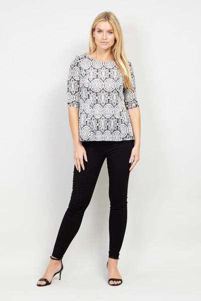 Mosaic Print Peplum Top - Izabel London