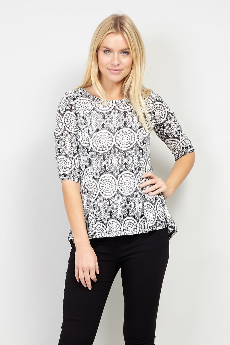 Black And White | Mosaic Print Peplum Top
