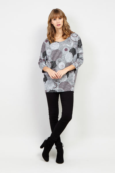 Circle Print Raglan Sleeve Jumper