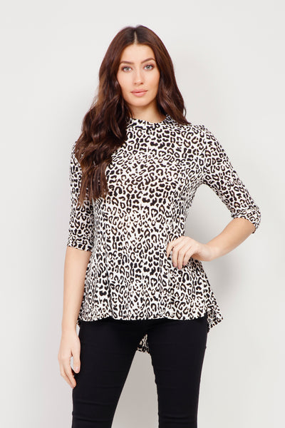 White | Animal Print Peplum Top