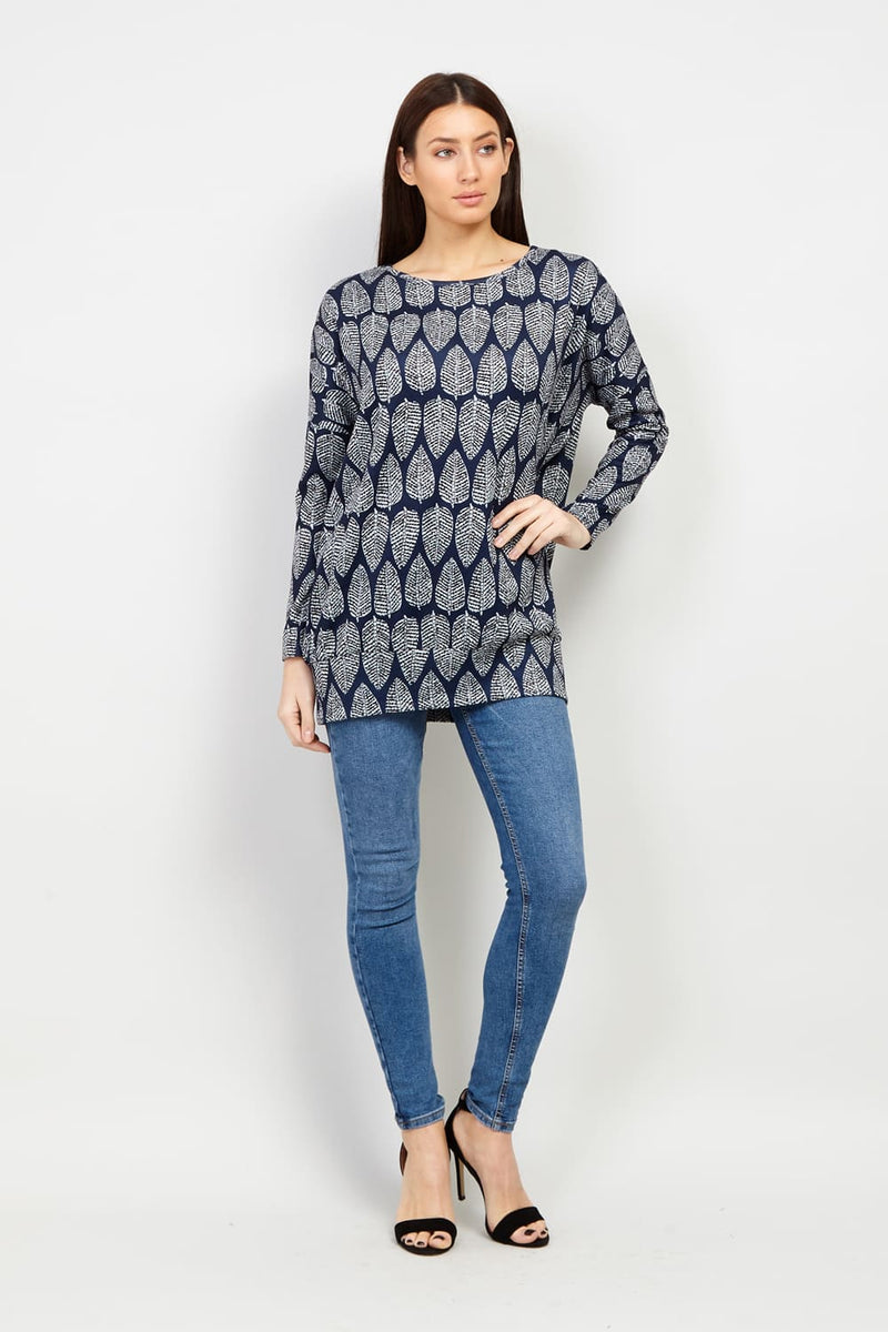 Navy | Leaf Print Longline Sweater