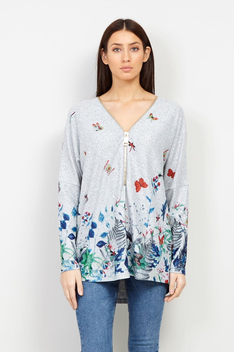 Grey | Floral Border Print Zip Neck Top | Izabel London