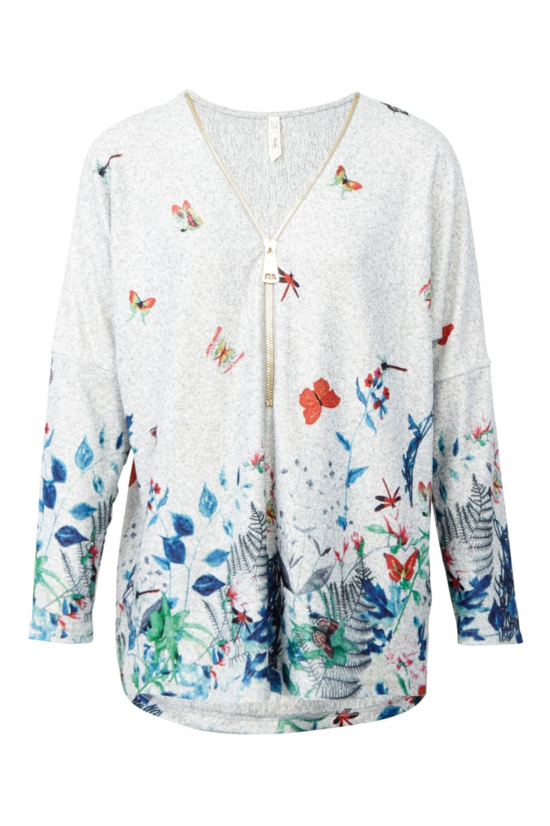 | Floral Border Print Zip Neck Top | Izabel London