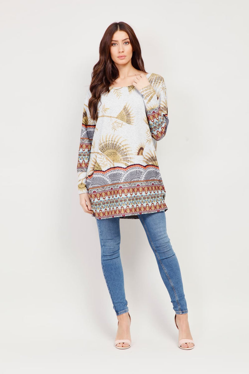 | Eastern Print Longline Top | Izabel London