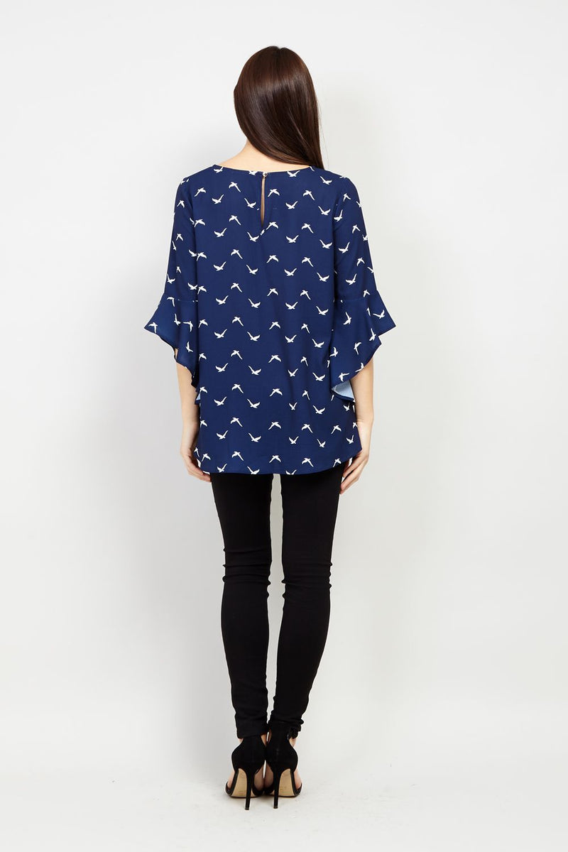 Navy | Swallow Print Flare Sleeve Blouse