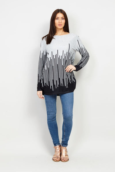 Black | Border Print Striped Jumper