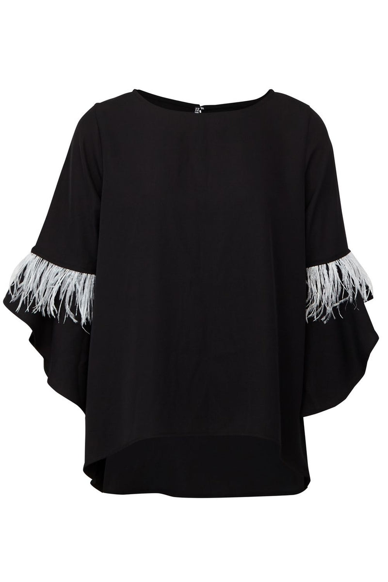 Black | Feathered Sleeve Blouse