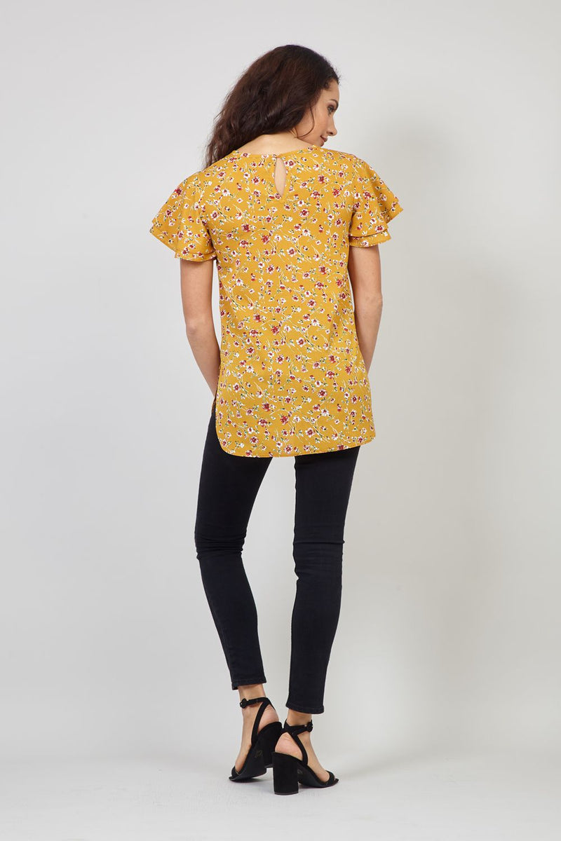 Mustard | Ditsy Floral & Frill Sleeve Blouse