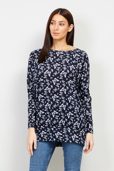 19f27107292 Navy | Butterfly Print Sweater | Izabel London