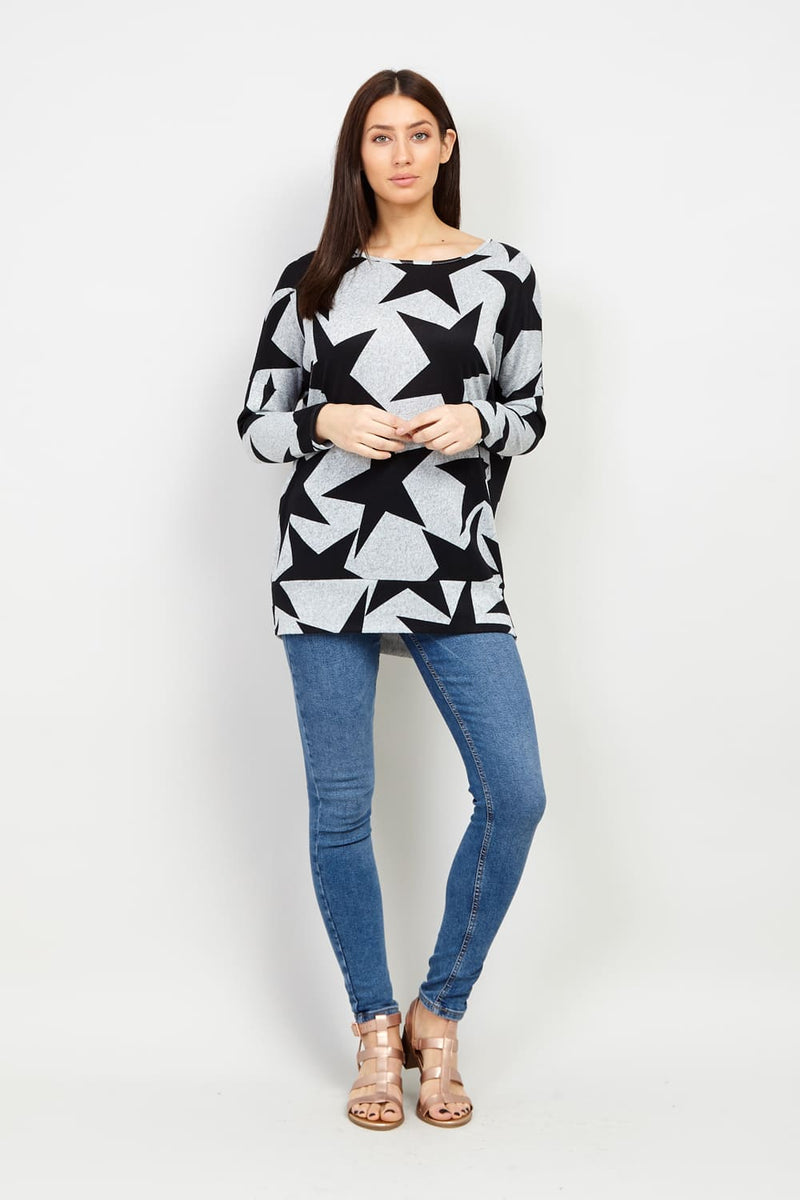Star Print Longline Jumper - Izabel London