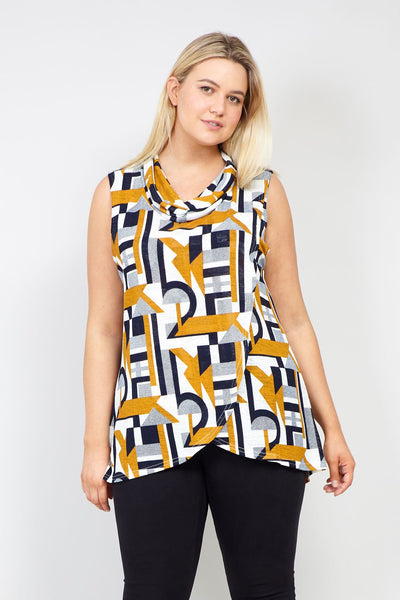 Yellow | Curve Geo Print Wrap Front Tunic Top | Izabel London