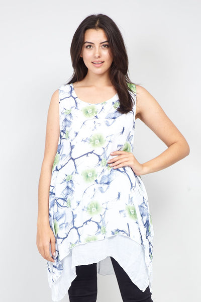 White | Curve Layered Hem Floral Tunic Top