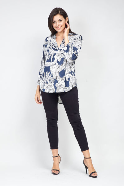 | Curve Tropical Print Collarless Blouse | Izabel London