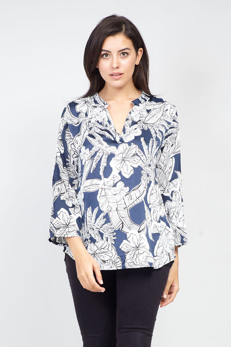 Navy | Curve Tropical Print Collarless Blouse | Izabel London