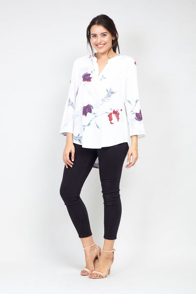 Curve Floral Collarless Blouse - Izabel London