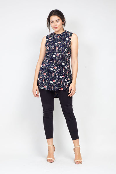 Navy | Curve Floral High Neck Peplum Top