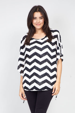 Curve Striped Marble Print Blouse