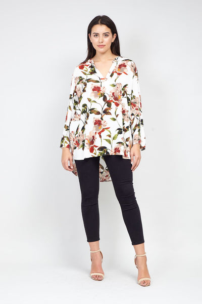 | Curve Floral Dip Back Top | Izabel London