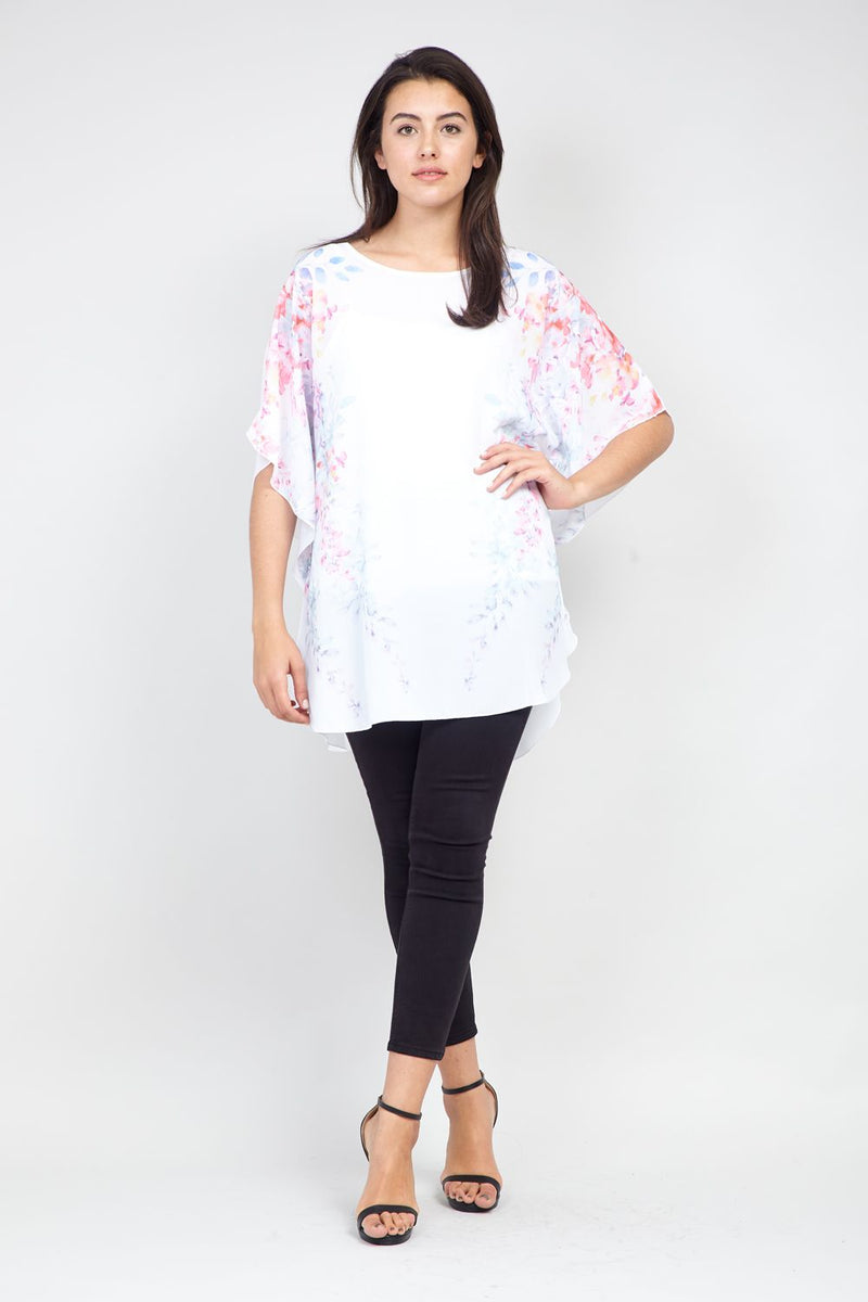 White | Curve Floral Batwing Top