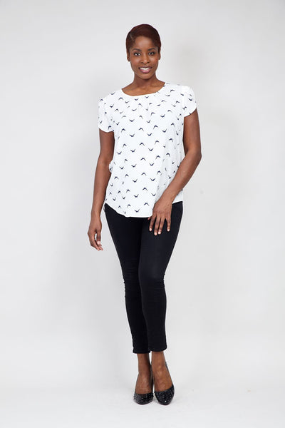 White | Curve Swallow Print Tee