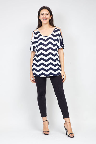 | Curve Chevron Print Cold Shoulder Top | Izabel London