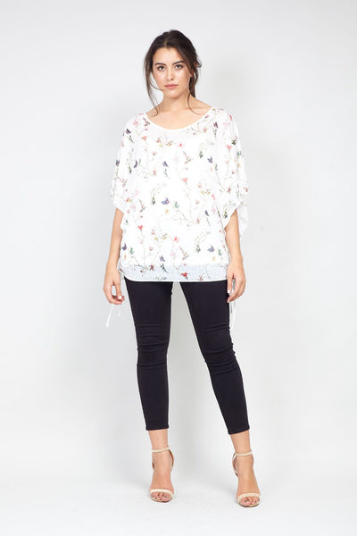 | Curve Floral Tie Side T-Shirt | Izabel London